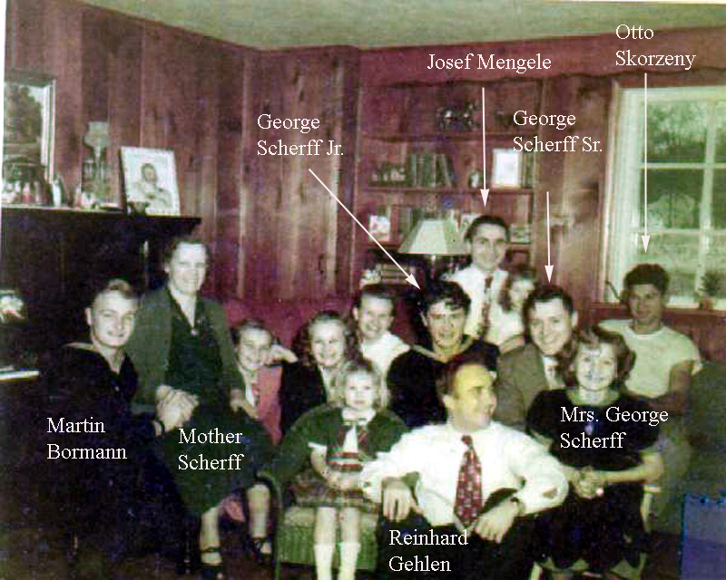 Scherff family & friends ca. 1938 with  arrows and text