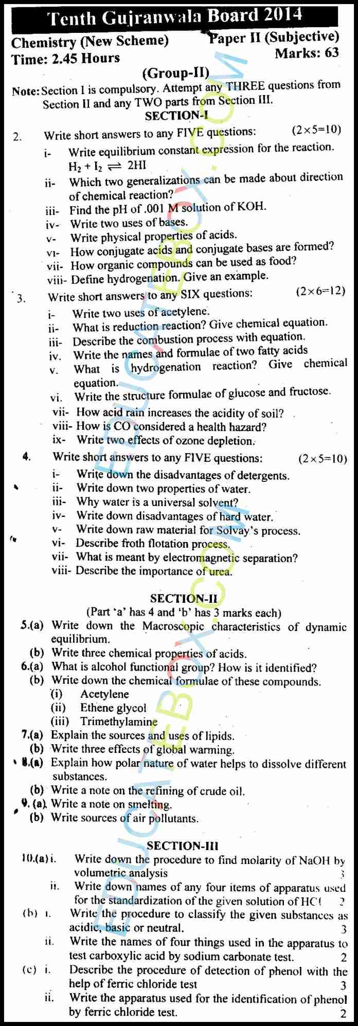 Past Paper Class 10 Chemistry Gujranwala Board 2014 Subjective Type Group 2
