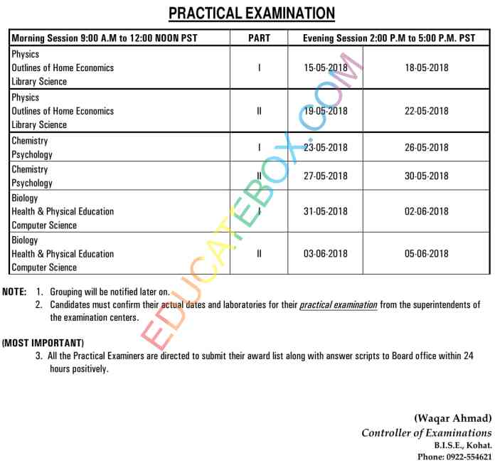 1st year 2nd year Date Sheet 2018 BISE Kohat board practical