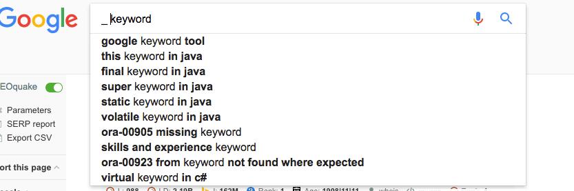 Google Prefix Terms
