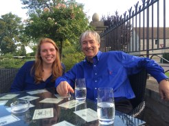 Lucy and Andrew Simmonds relax with a glass of Puligny Montrachet