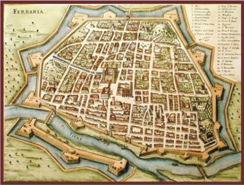 Ferrara - medieval map of the city