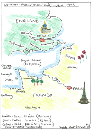 Chartres - Paris - Somme - English Channel - Canterbury - London