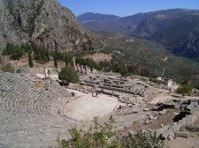 Delphi - magnificent Greek theatre with stadium below..