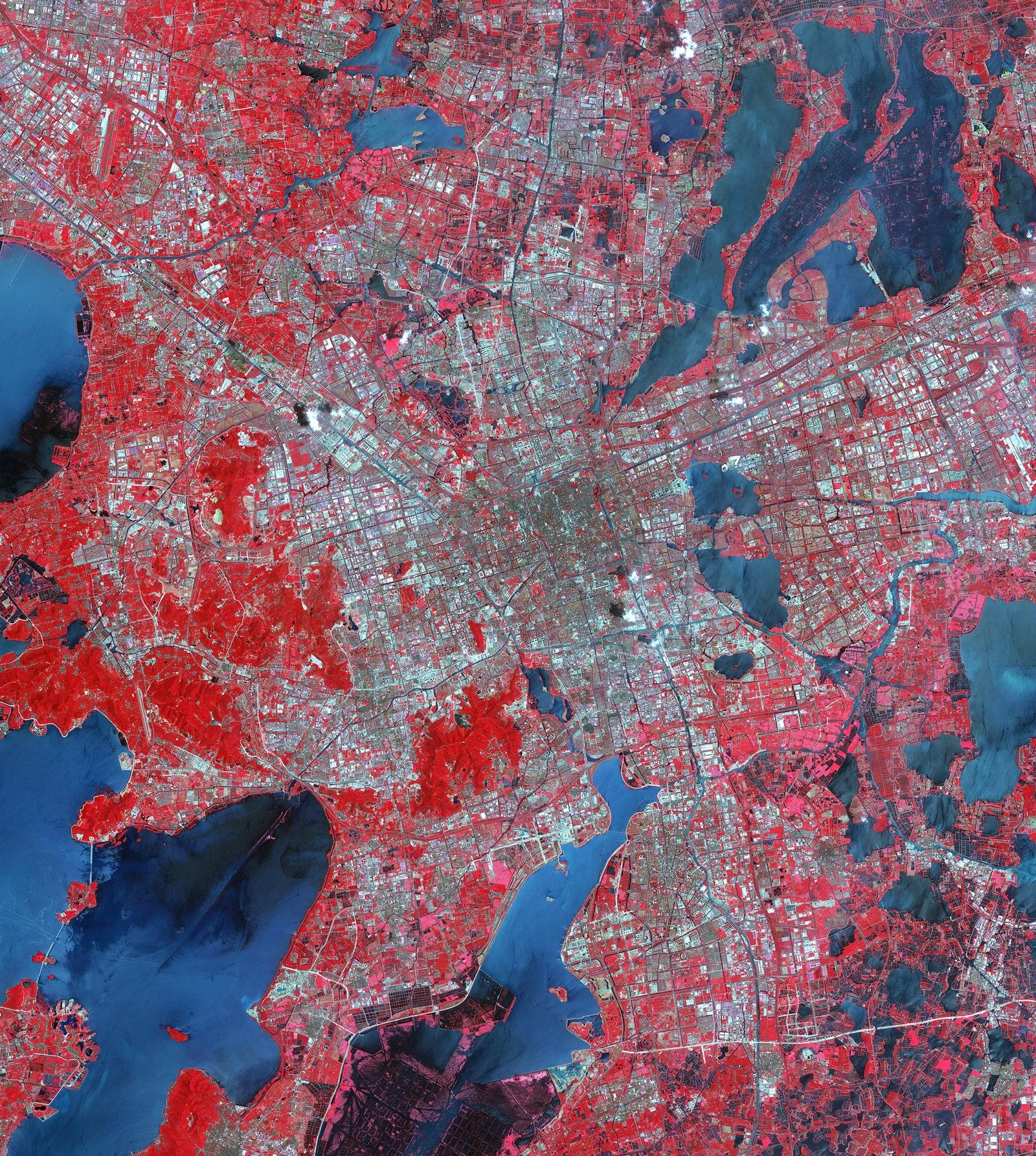 Satellite image of Suzhou, East China—one of their largest cities and main economic center along the Yangtze river via NASA:METI:AIST