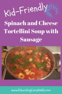 Easy Kid-Friendly Spinach and Cheese Tortellini Soup - Pinterest Image