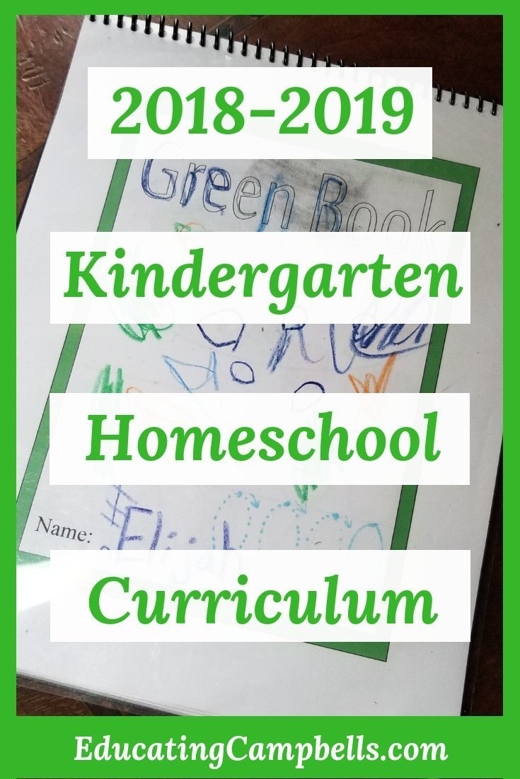2018-2019 Kindergarten Homeschool Curriculum, workbook