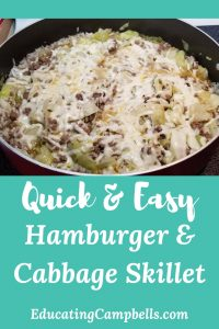 Pinterest Image -- Hamburger & Cabbage Skillet with Shredded Cheese