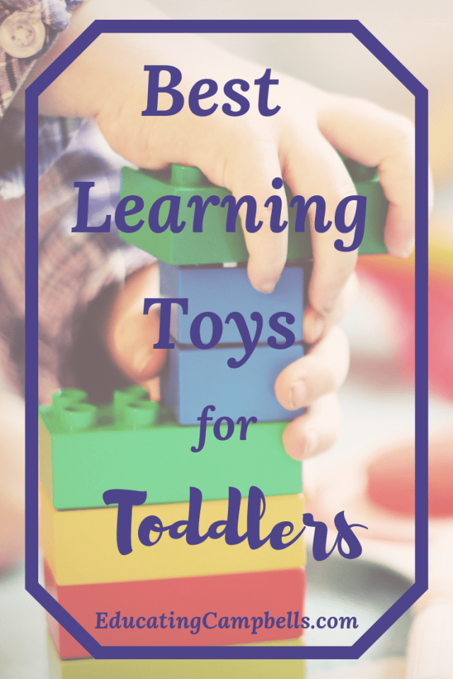 Pinterest Image of child playing with blocks for Best Learning Toys for Toddlers