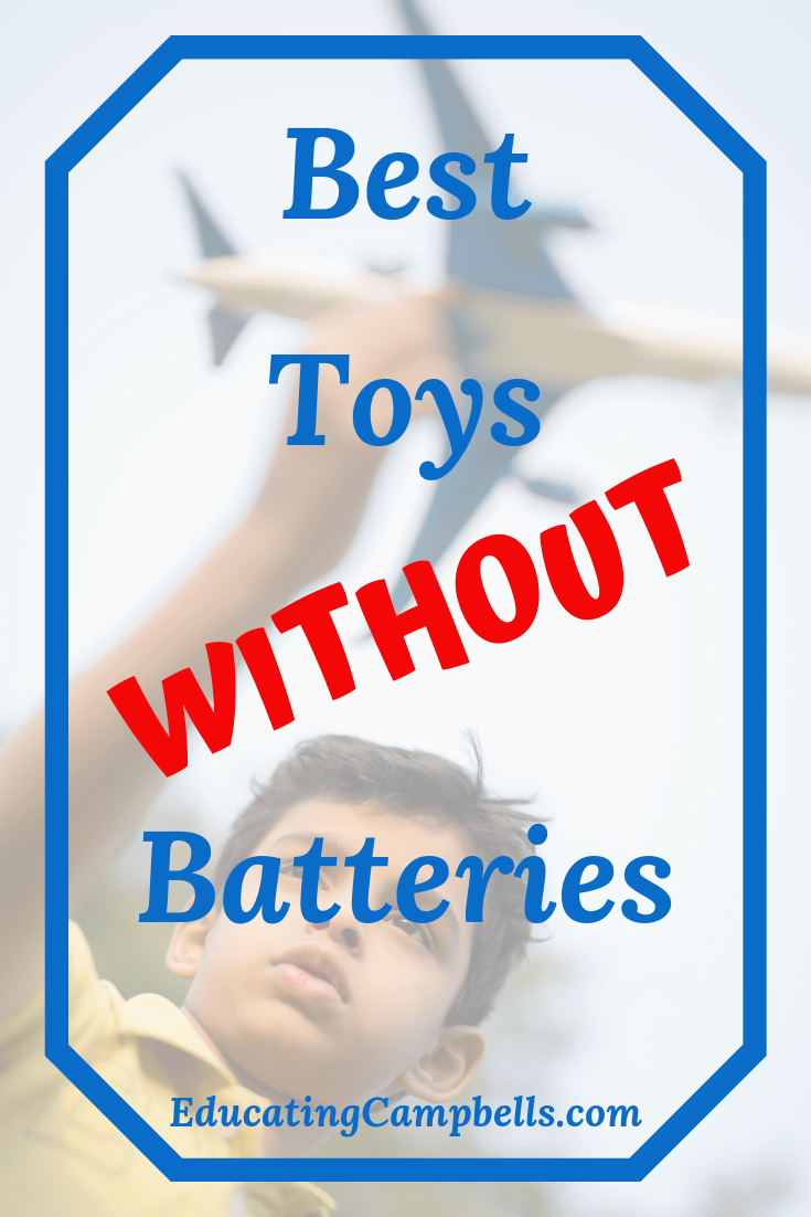 Pinterest Image -- Best Toys Without Batteries -- boy playing with airplane
