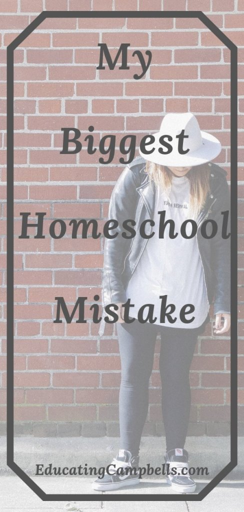 Pinterest Image -- My Biggest Homeschool Mistake, woman with her head down against a brick wall
