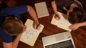 kids doing homeschool art class online