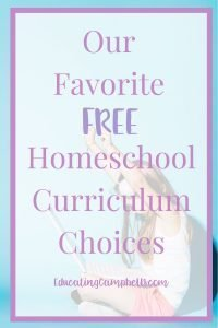Pinterest Image - Favorite-Free-Homeschool-Curriculum, excited girl at a computer with text overlay