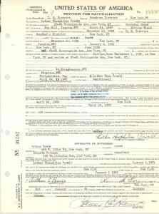 Luther Powell Petition of Naturalization (front)