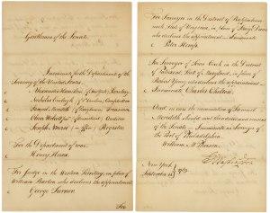 George Washington's nomination of Alexander Hamilton and others