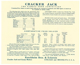 Supportive of the food substitution effort, Cracker Jacks advertised  their use for replacing nuts in cookies and cakes.  Page 2 of The Real Food Value Pamphlet from Rueckheim Bros & Eckstein, 1918. From the Records of the U.S. Food Administration.