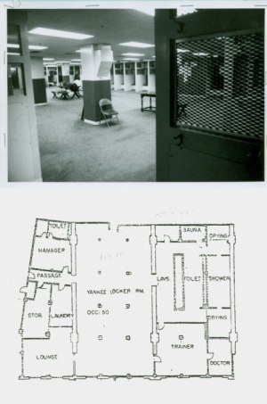 Photo and diagram of the locker room
