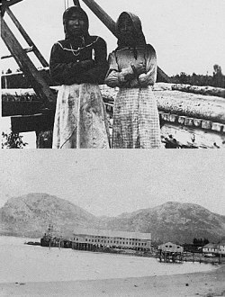 Native women and cannery building
