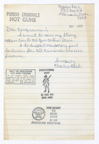 Letter from Charles Koch Opposed to Gun Control Laws 12/3/1975