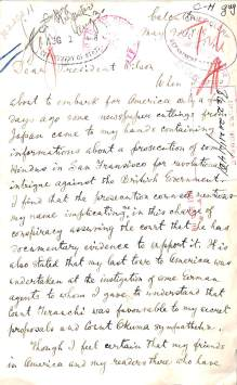 Handwritten letter from Tagore to President Wilson