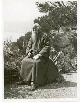 Mr. Rabindranath Tagore, the Hindu poet, Admiring the Beauties of the Cote d'Azur at Cap Martin