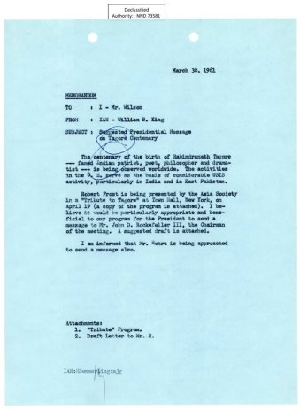 Draft of President Kennedy's letter for the centenary celebration of Tagore's birth