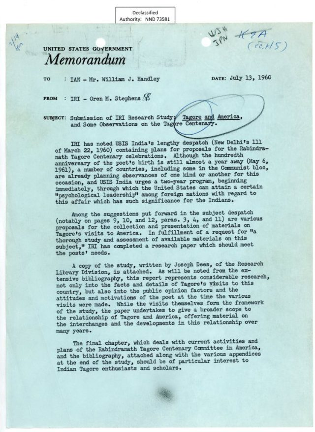 Memo concerning the need for the United States to position itself prominently in Tagore's centenary celebration