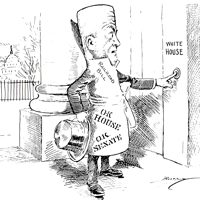 A rolled up bill ringing the White House doorbell
