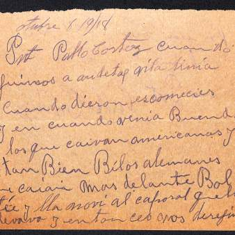 Account of Private Pablo Cortez, Company M. 141st Infantry. 36th Division. Page 1