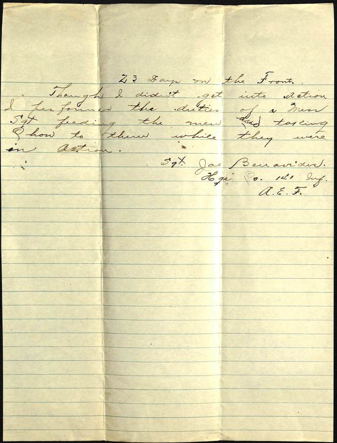 Account of Sgt. Joe Benavides, 141st Inf. HQ Co. 36th Division