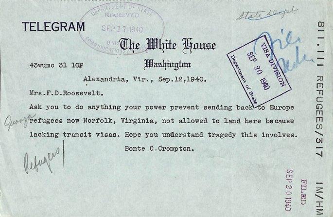 Telegram from Bonte Crompton to Eleanor Roosevelt
