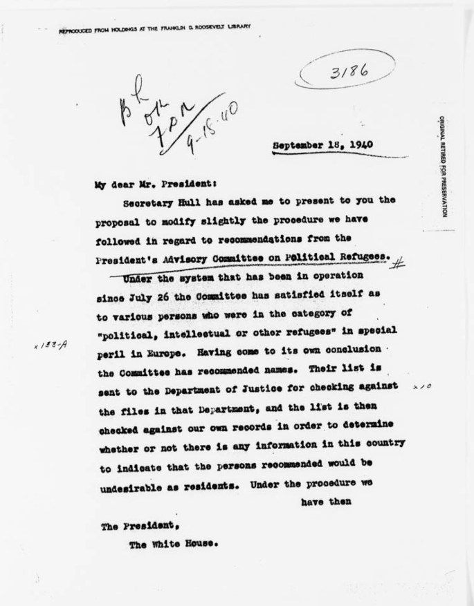 Letter from Breckenridge Long to FDR