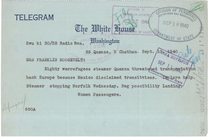 Telegram from Women Passengers on the Ship Quanza to Eleanor Roosevelt