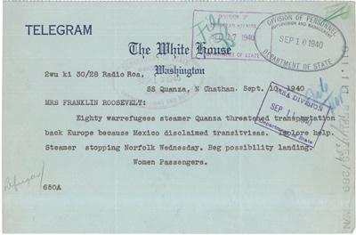 Telegram from Quanza Passengers to Eleanor Roosevelt