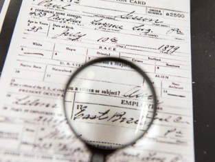 Magnifying glass on document