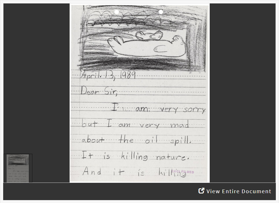 Letter from child with drawing of sea otters