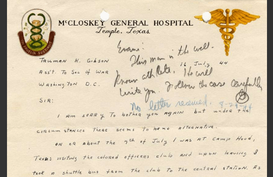 Image of Top of Letter to Truman K. Gibson from Jackie Robinson