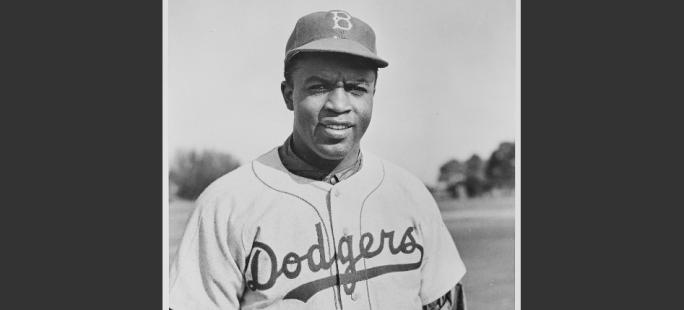 Jackie Robinson in his Brooklyn Dodgers Uniform