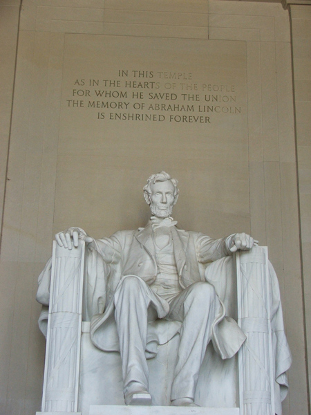 Statue of Abraham Lincoln inside the Lincoln Memorial