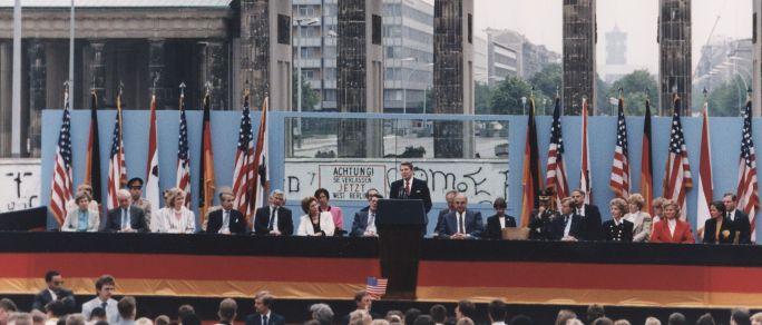 Ronald Reagan giving a speech in Berlin