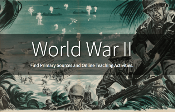 """""""World War II"""" overlaid onto a drawing of soldiers coming ashore with guns"""