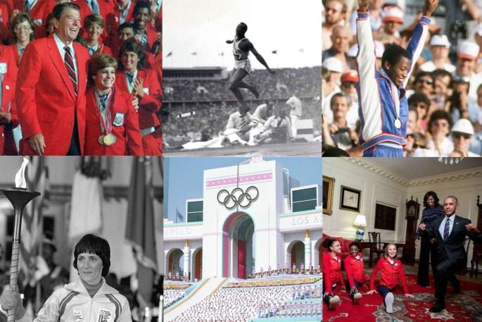 Ronald Reagan and Mary Lou Retton, Jesse Owens, Alonzo Babers, Sandy Norris, LA Coliseum, President Obama and Olympic Women's Gymnastics Team