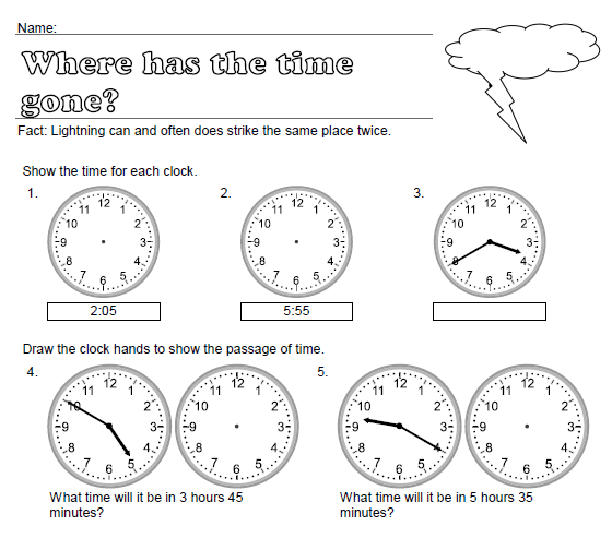 Where has the Time Gone? (Elapsed Time Worksheet