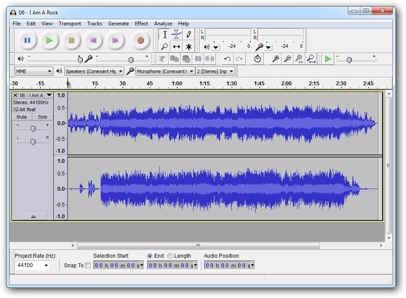 Audacity's software interface.