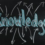Chalk board with arrows around the word knowledge