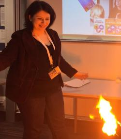 Burning flash paper in classroom