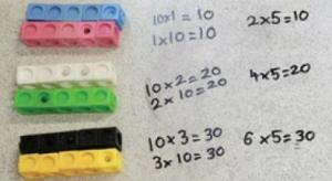 Children making groups with two rows of five cubes in each group. This demonstrates that there are two fives for every ten.