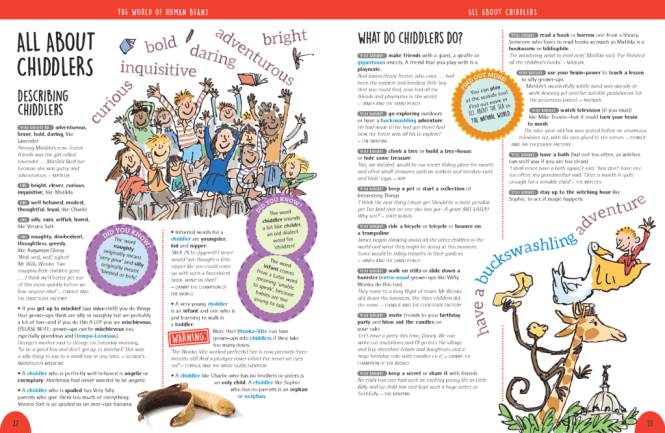 Oxford Roald Dahl Thesaurus 'All About Chiddlers' spread