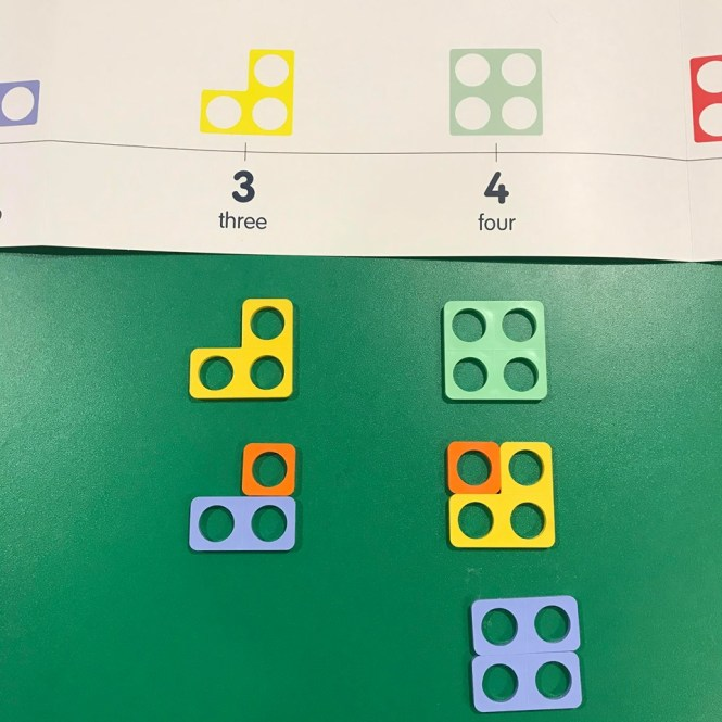Image of Numicon shapes combined beneath a Numicon number line to make the numbers 3 and 4.   Beneath the numeral 3 there is a Numicon 3 shape and also a Numicon 1 shape placed on top of a Numicon 2 shape to create a 3 shape.  Beneath the numeral 4 there is a Numicon 4 shape and also a Numicon 1 shape placed on top of a Numicon 3 shape to create a 4 shape, as well as two Numicon 2 shapes placed together to make a 4 shape.