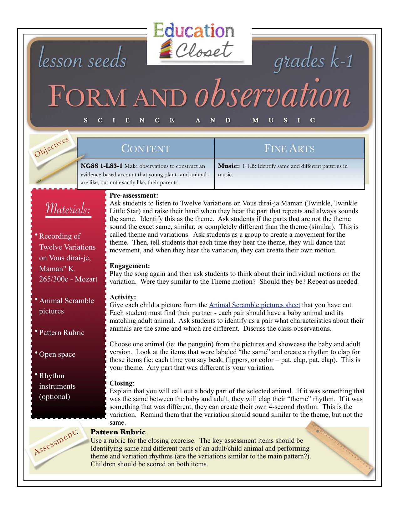 Form And Observation Arts Integration Lesson Education Closet